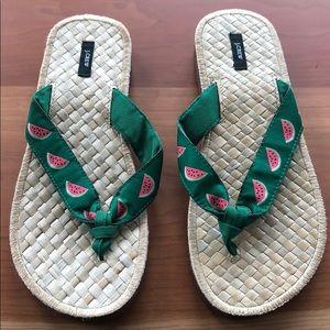 Never worn J Crew Watermelon Flip Flops